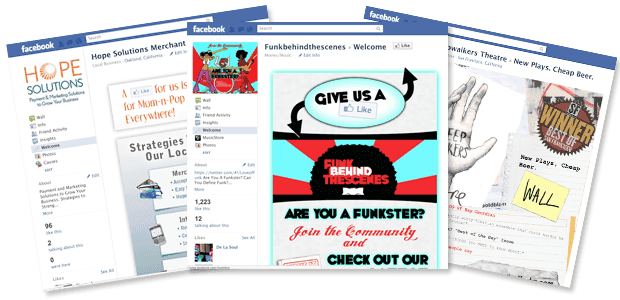 Custom Facebook pages contain graphics and encourage your visitors to like your page.