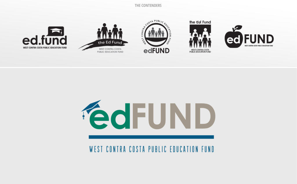 The Ed Fund logo concepts and winning logo design.