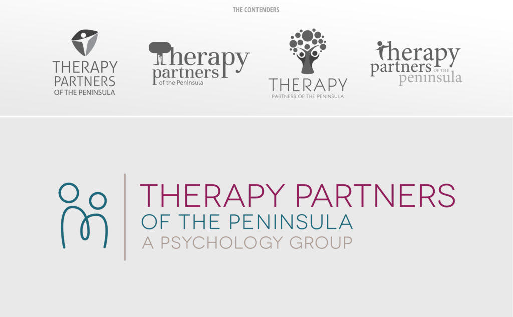 The various logo concepts and winning logo we designed for Therapy Partners of the Peninsula