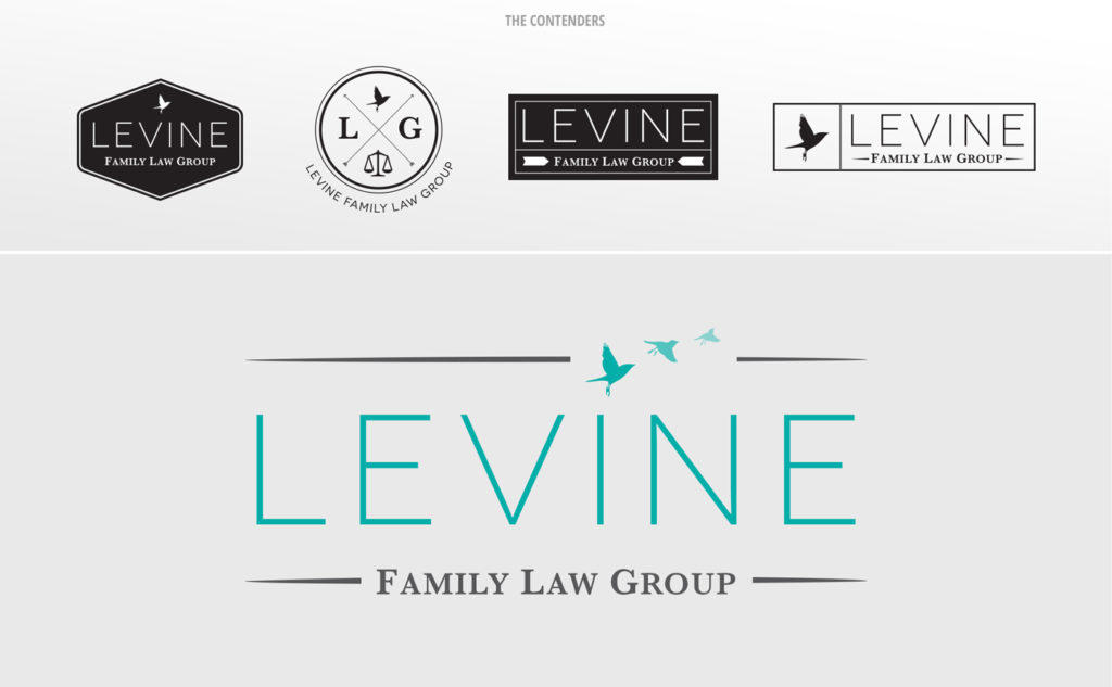 The various logo options and winning logo for Levine Family Law Group.