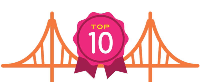 Top 10 Ribbon with Golden Gate Bridge
