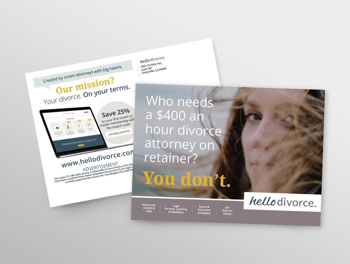 Hello Divorce marketing postcard design
