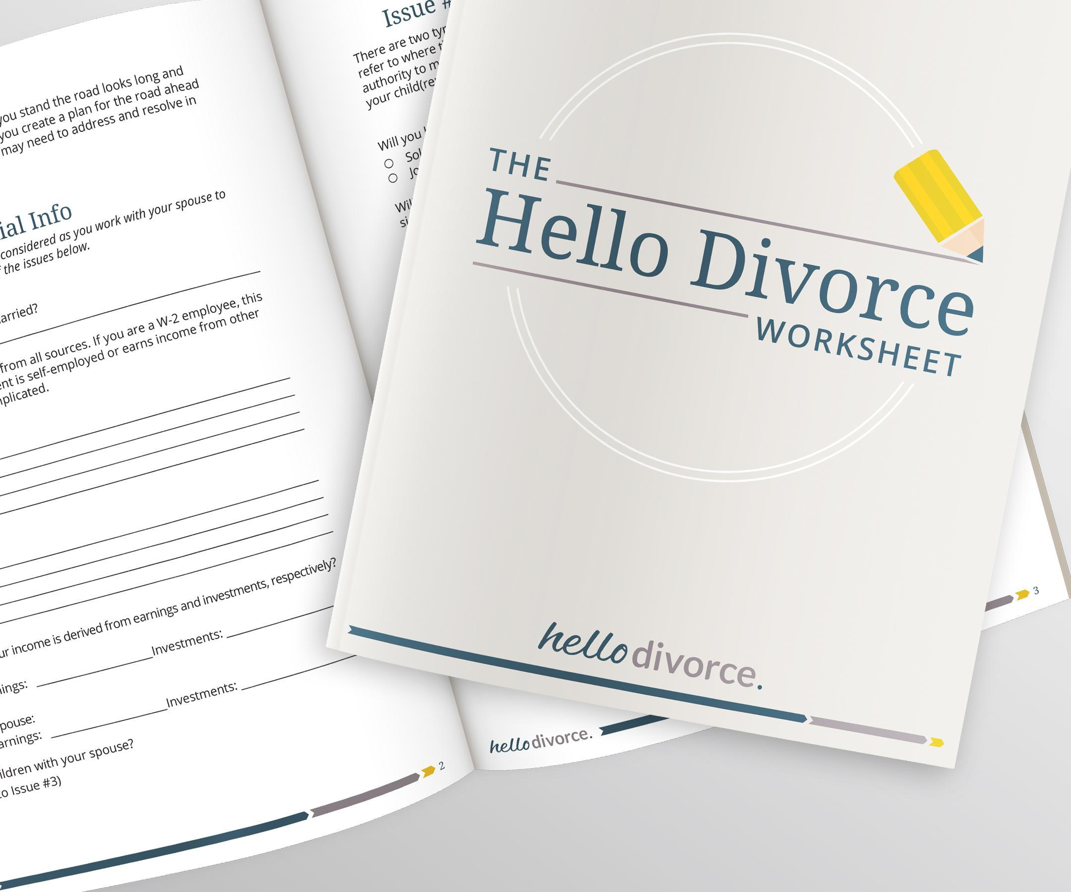 Hello Divorce print design