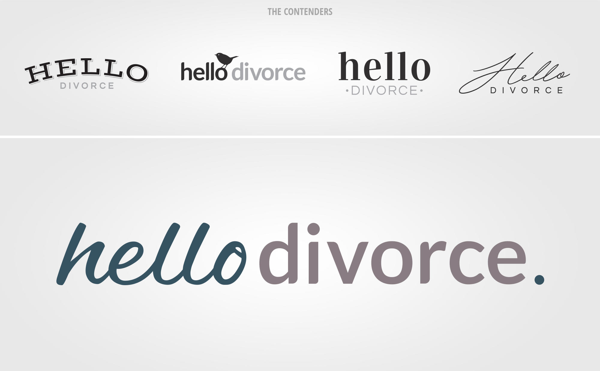 The various options and winning logo we created for Hello Divorce