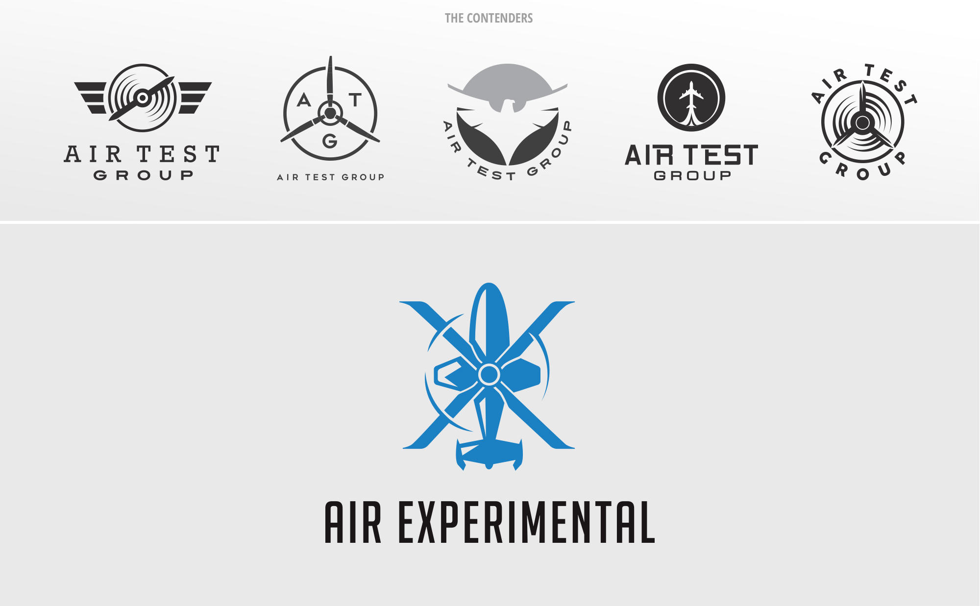 The various logo concepts we created for Air Experimental with the winning logo.