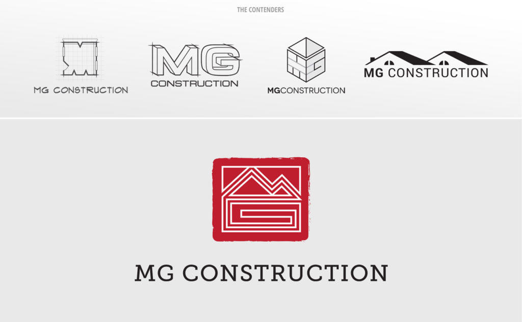 The various logo concepts and winning logo we designed for MG Construction