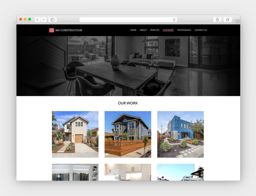 MG Construction custom website design and development