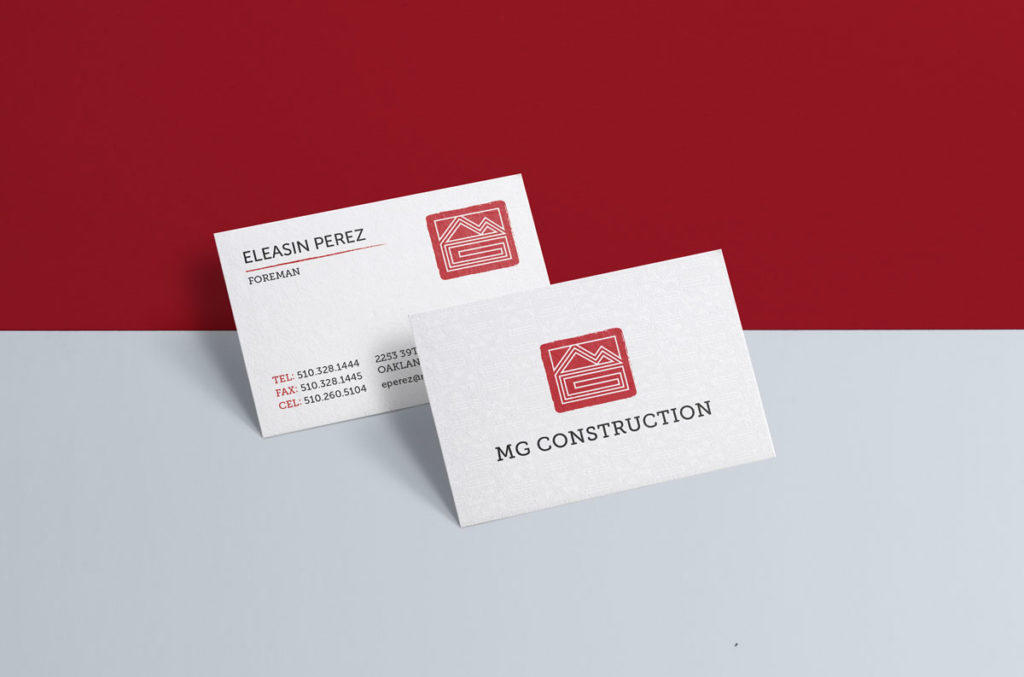 MG Construction business card design
