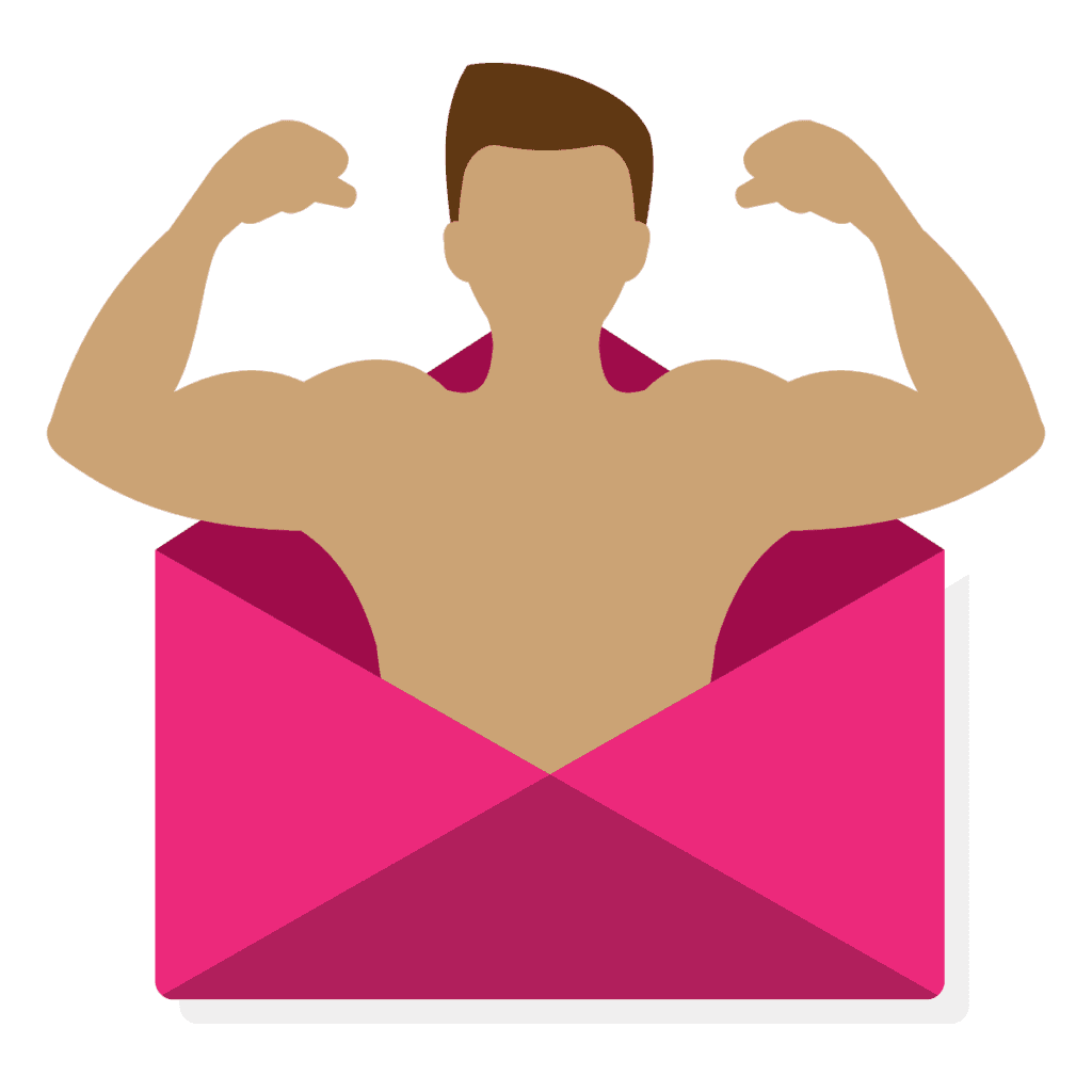 Email List with Person Flexing Muscles