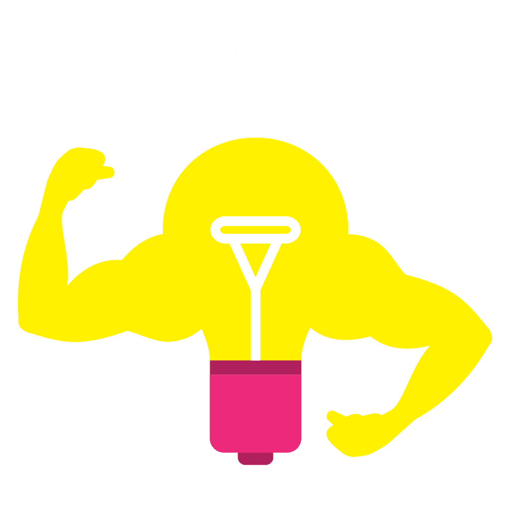 Idea Lightbulb Flexing Muscles