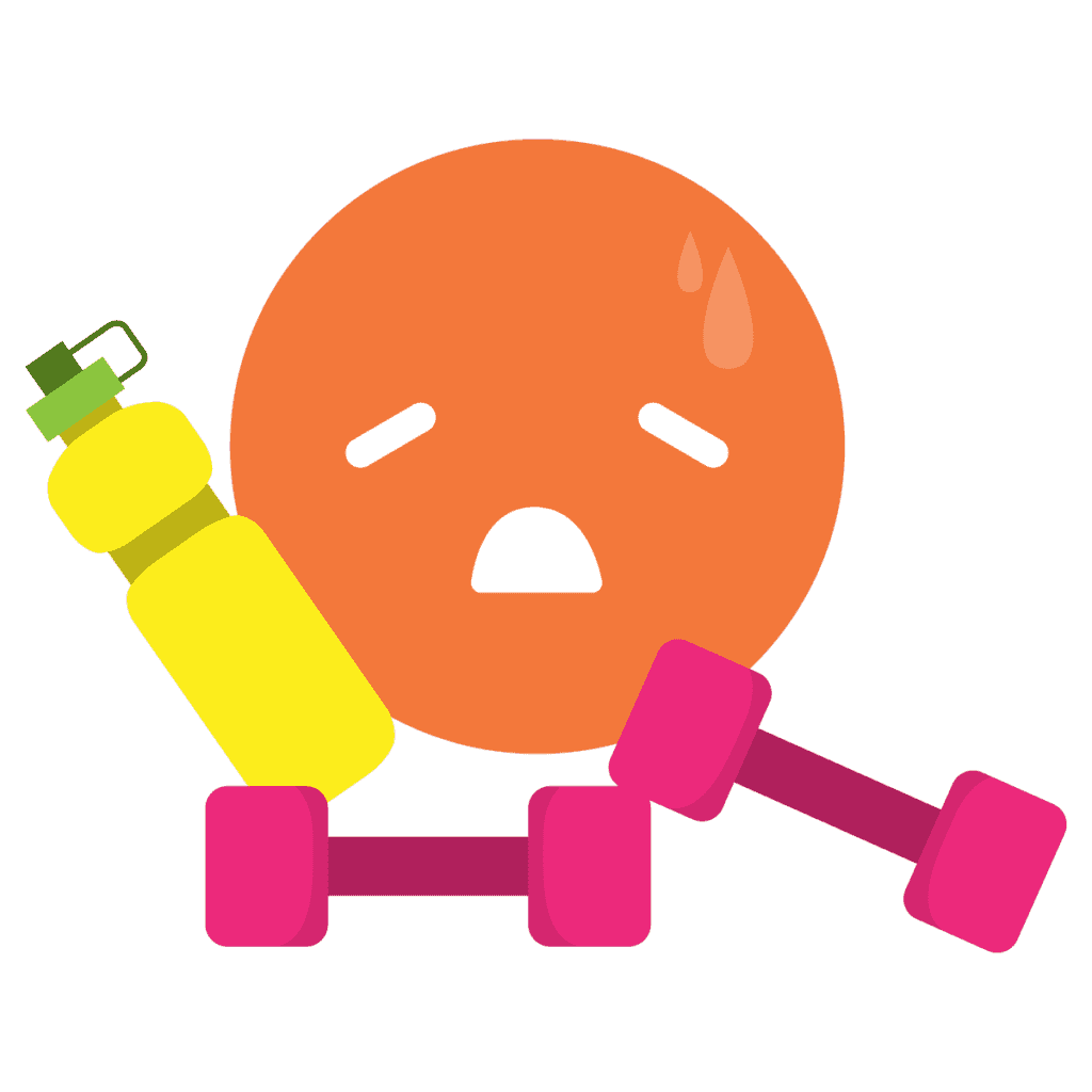Sad Emoji with Water Bottle and Hand Weights
