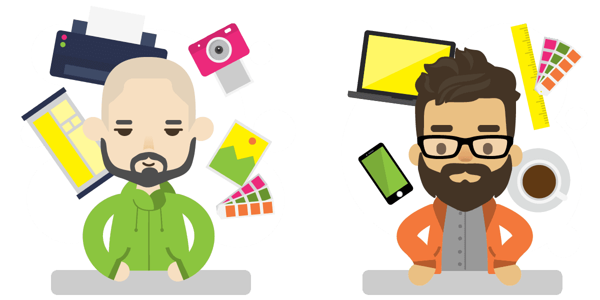 Two People Circled by Tech Gadgets