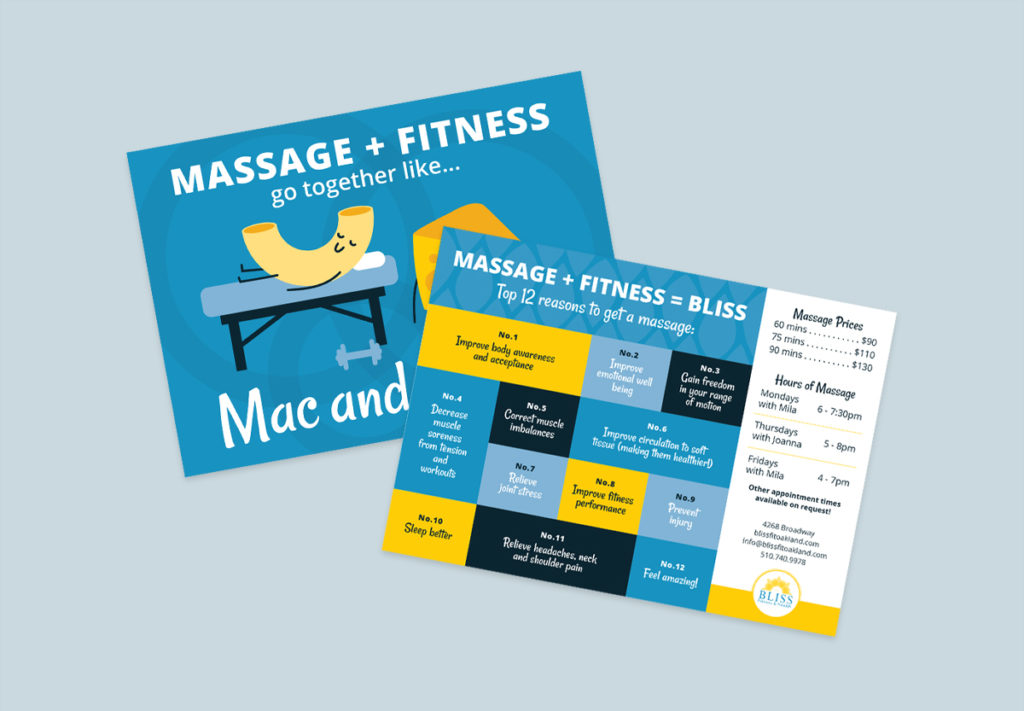 Bliss Fitness Massage + Fitness marketing postcard design