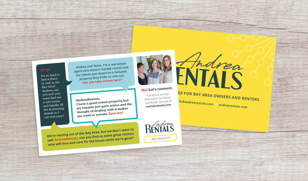 Andrea Rentals marketing postcard design