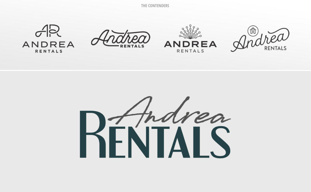 The various options of logos we designed for Andrea Rentals