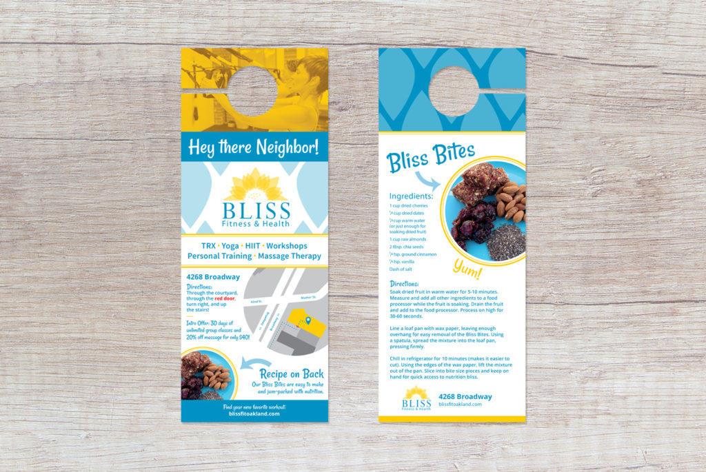 Bliss Fitness marketing door hanger design