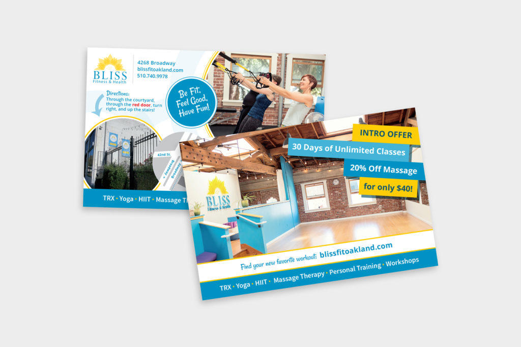 Bliss Fitness custom marketing postcard design