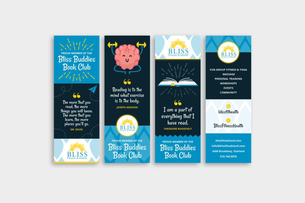 Bliss Fitness custom bookmark designs featuring custom illustrations