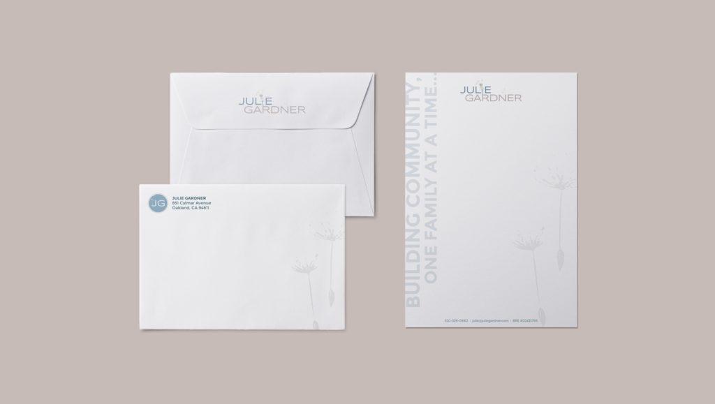 Julie Gardner print and stationary design
