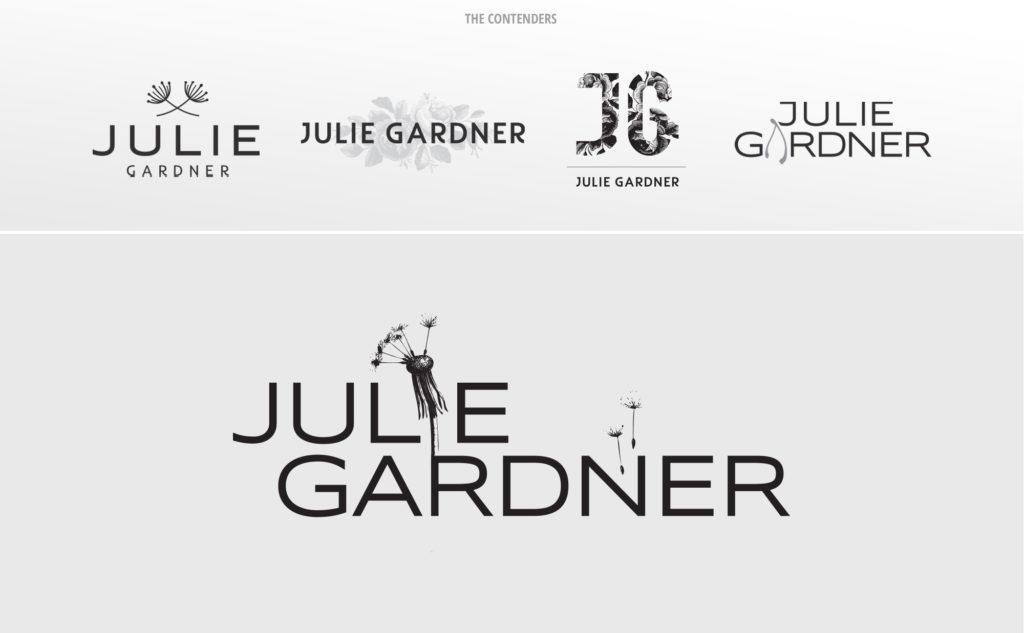 The various logo designs we proposed for Julie Gardner's logo design