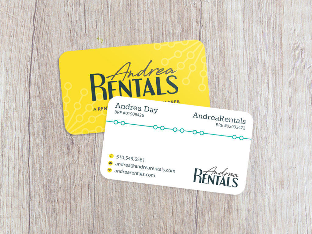 Andrea Rentals business card design.