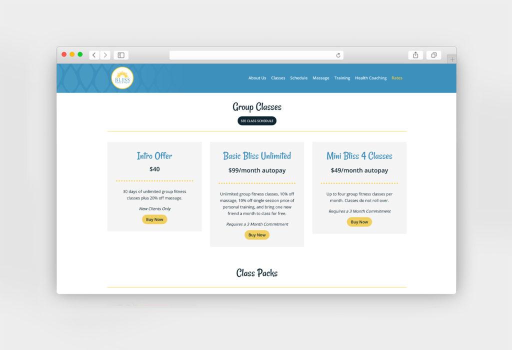 Bliss Fitness responsive website design & development