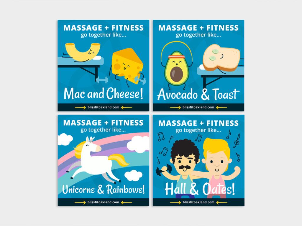 Custom massage & fitness illustrative social media graphics
