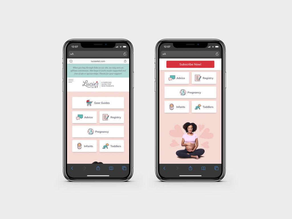 Lucie's List website design, responsive view