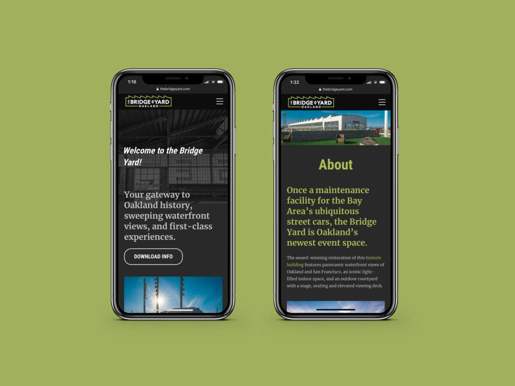Bridge Yard Oakland website design, responsive view.