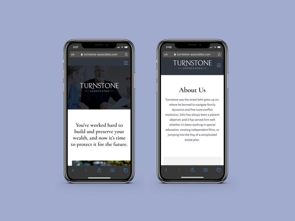 Turnstone Associates website design, responsive view