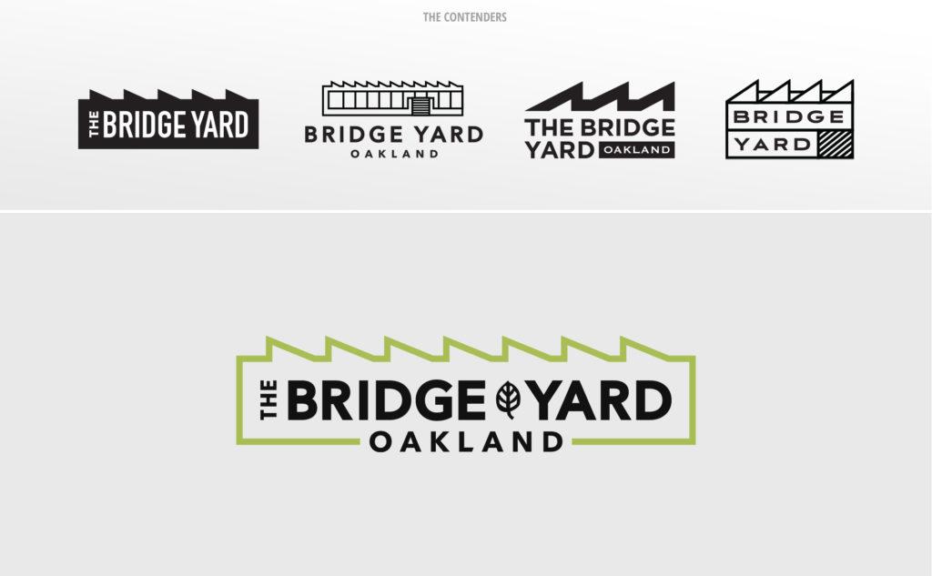 Various versions of the Bridge Yard Oakland logo.
