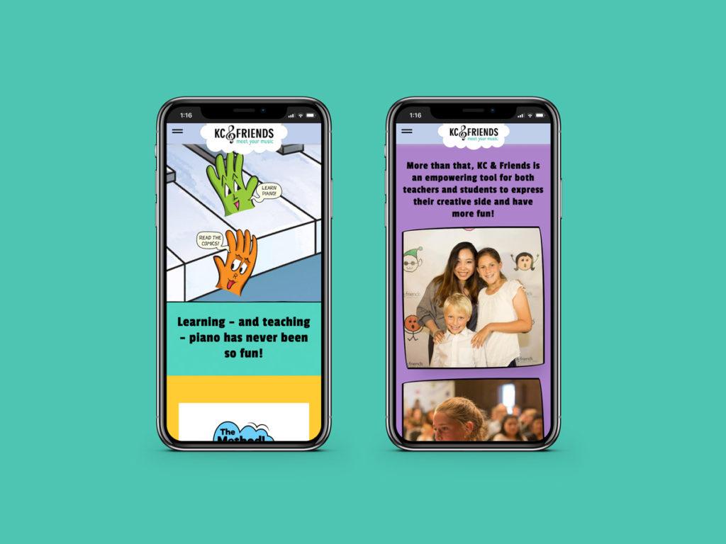 KC & Friends website design, responsive view